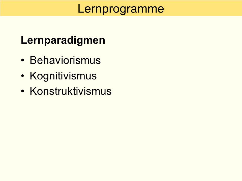 Lernprogramme Behaviorismus Kognitivismus Konstruktivismus Lernparadigmen