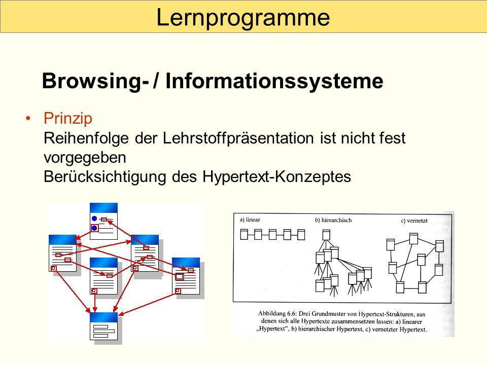 Lernprogramme Prinzip Reihenfolge der Lehrstoffpräsentation ist nicht fest vorgegeben Berücksichtigung des Hypertext-Konzeptes Browsing- / Information