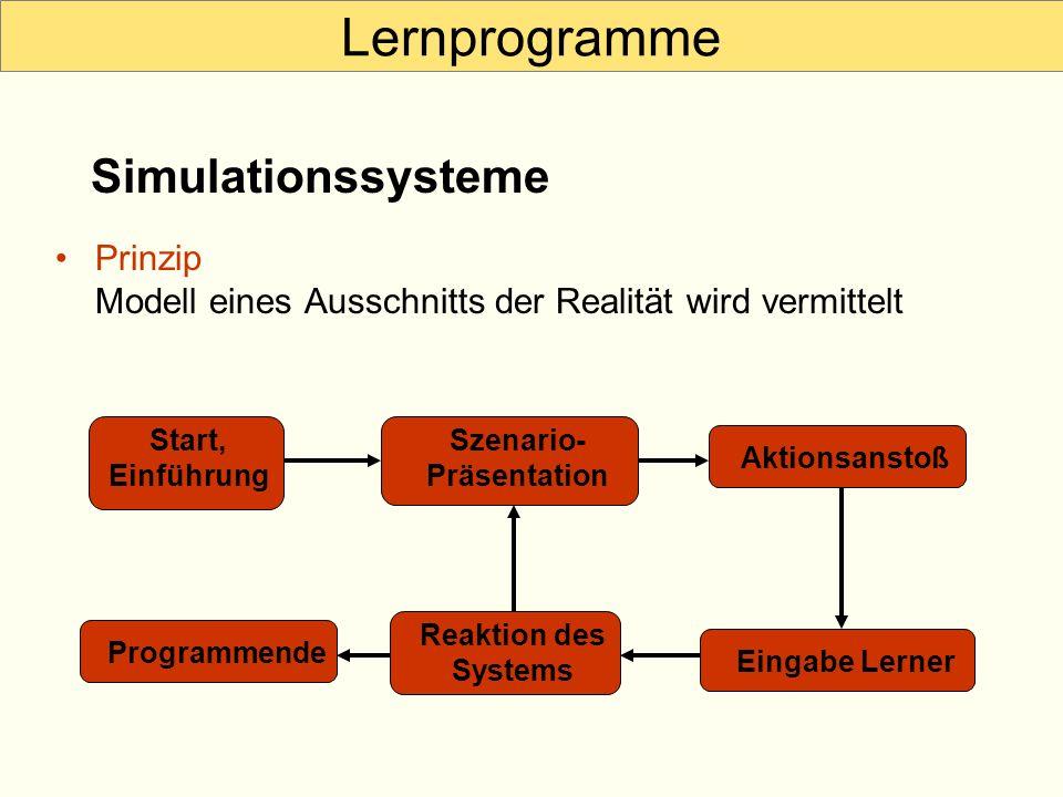 Lernprogramme Prinzip Modell eines Ausschnitts der Realität wird vermittelt Simulationssysteme Start, Einführung Szenario- Präsentation Eingabe Lerner