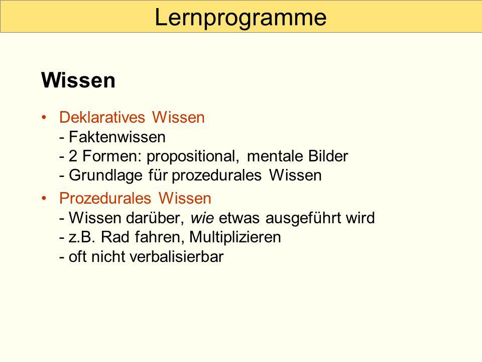 Lernprogramme Deklaratives Wissen - Faktenwissen - 2 Formen: propositional, mentale Bilder - Grundlage für prozedurales Wissen Prozedurales Wissen - W