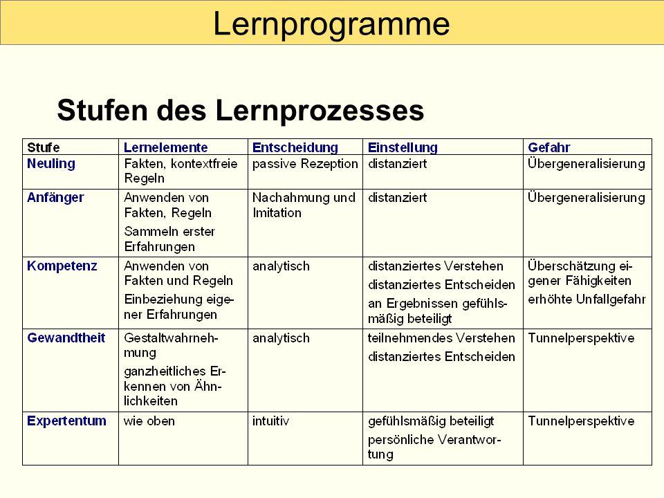 Lernprogramme Stufen des Lernprozesses