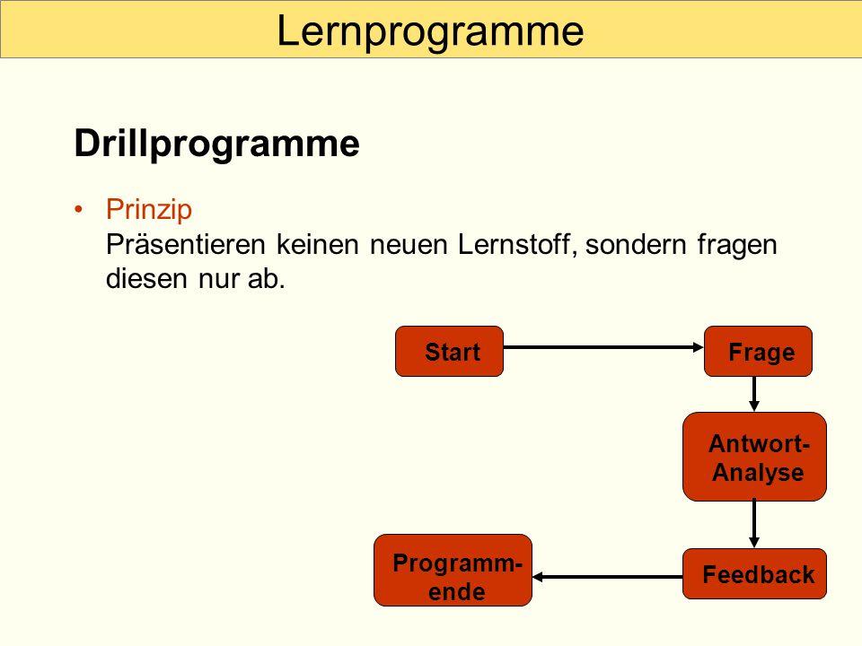 Lernprogramme Prinzip Präsentieren keinen neuen Lernstoff, sondern fragen diesen nur ab. Drillprogramme StartFrage Antwort- Analyse Feedback Programm-