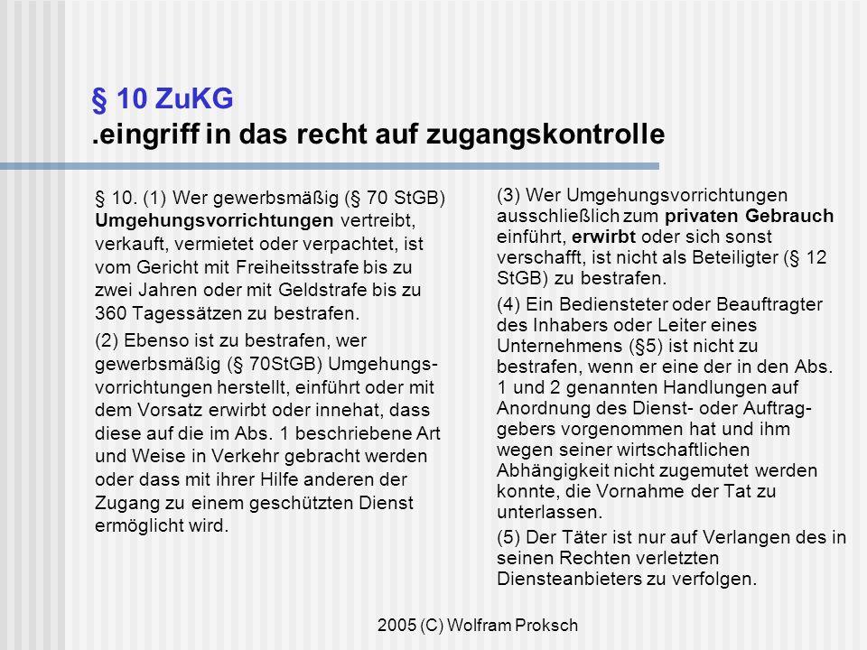 2005 (C) Wolfram Proksch § 10 ZuKG.eingriff in das recht auf zugangskontrolle § 10.