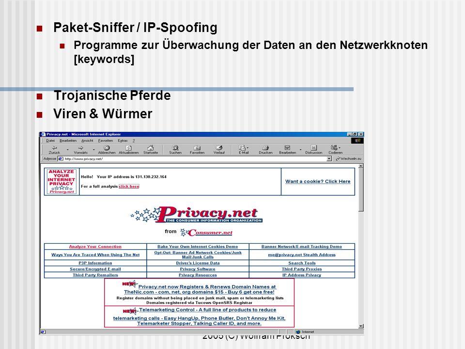 2005 (C) Wolfram Proksch Paket-Sniffer / IP-Spoofing Programme zur Überwachung der Daten an den Netzwerkknoten [keywords] Trojanische Pferde Viren & Würmer