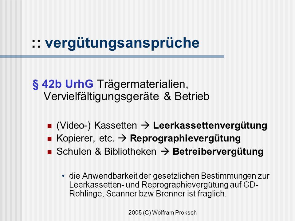 2005 (C) Wolfram Proksch :: vergütungsansprüche § 42b UrhG Trägermaterialien, Vervielfältigungsgeräte & Betrieb (Video-) Kassetten Leerkassettenvergütung Kopierer, etc.