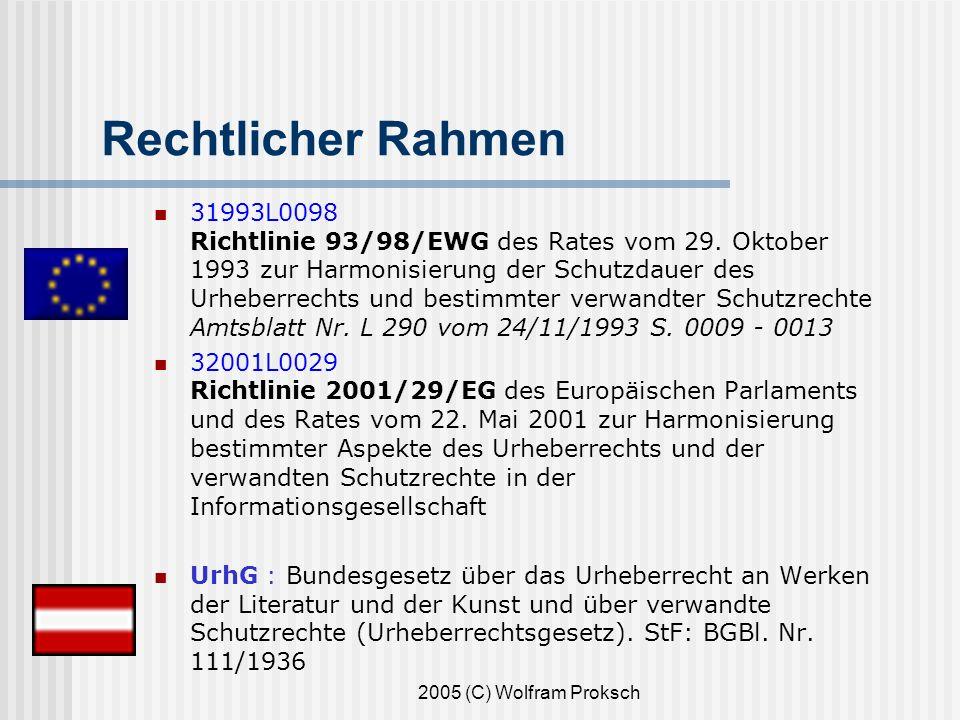 2005 (C) Wolfram Proksch Rechtlicher Rahmen 31993L0098 Richtlinie 93/98/EWG des Rates vom 29.
