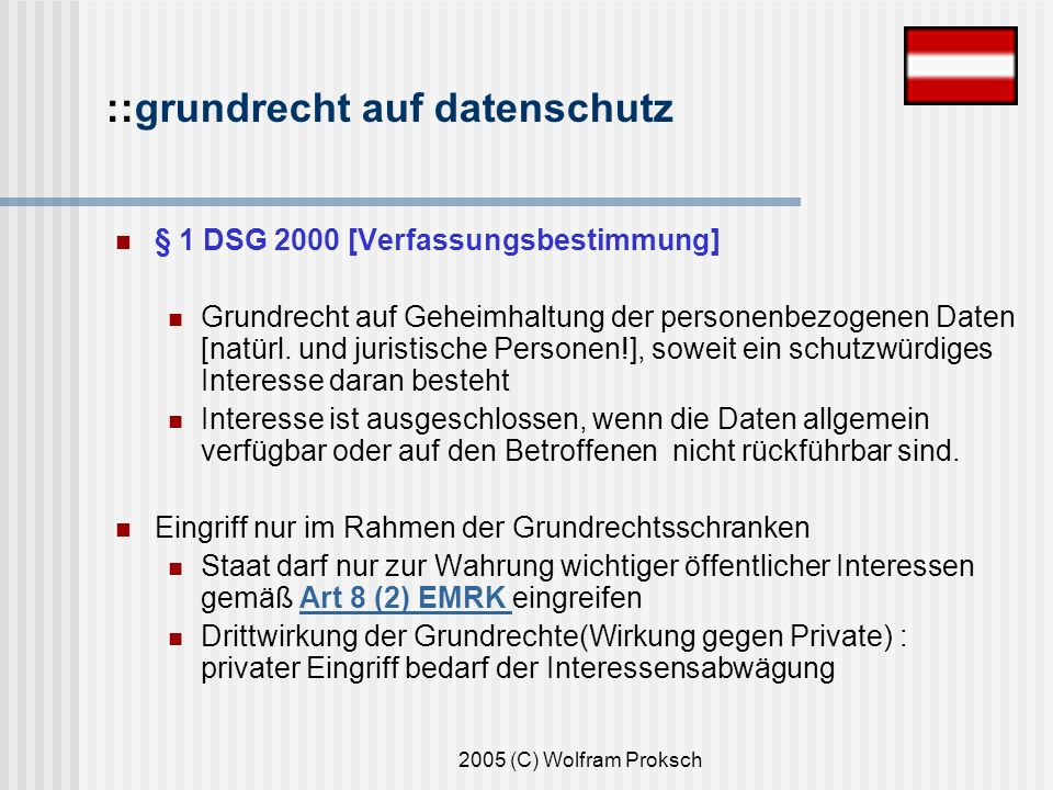 2005 (C) Wolfram Proksch § 1 DSG 2000 [Verfassungsbestimmung] Grundrecht auf Geheimhaltung der personenbezogenen Daten [natürl.