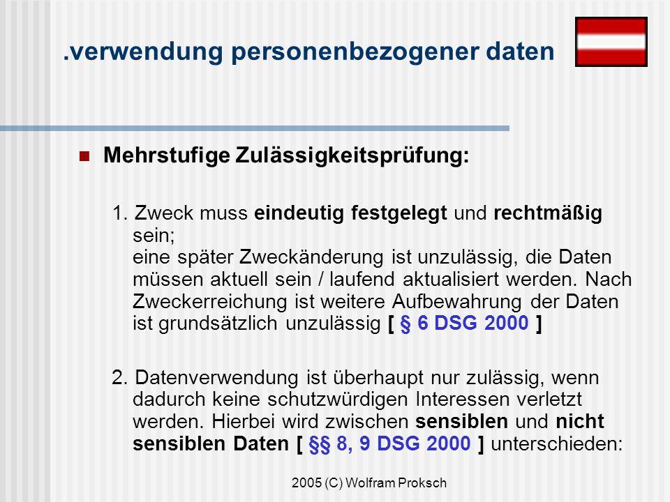 2005 (C) Wolfram Proksch Mehrstufige Zulässigkeitsprüfung: 1.