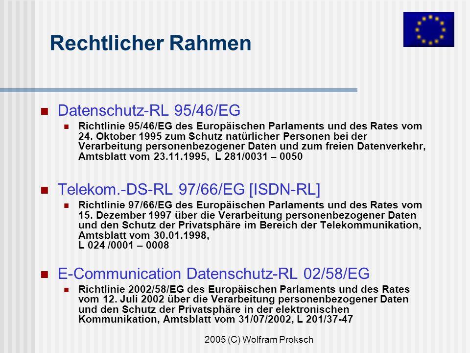 2005 (C) Wolfram Proksch Rechtlicher Rahmen Datenschutz-RL 95/46/EG Richtlinie 95/46/EG des Europäischen Parlaments und des Rates vom 24.