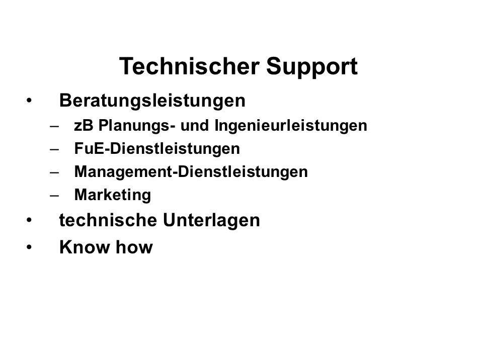 Technischer Support Beratungsleistungen –zB Planungs- und Ingenieurleistungen –FuE-Dienstleistungen –Management-Dienstleistungen –Marketing technische Unterlagen Know how