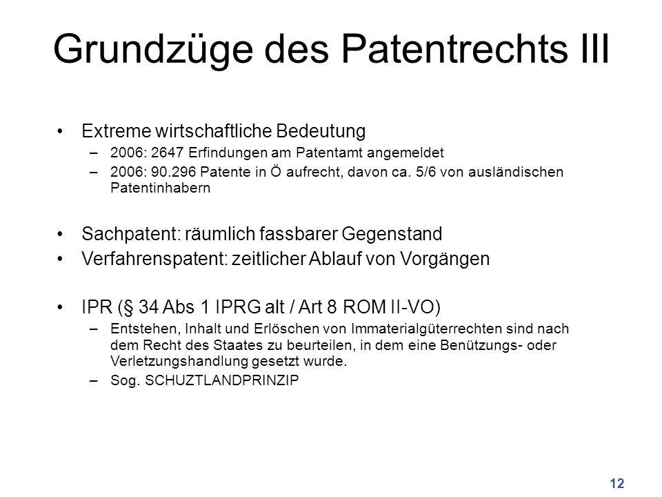 Grundzüge des Patentrechts III Extreme wirtschaftliche Bedeutung –2006: 2647 Erfindungen am Patentamt angemeldet –2006: 90.296 Patente in Ö aufrecht, davon ca.