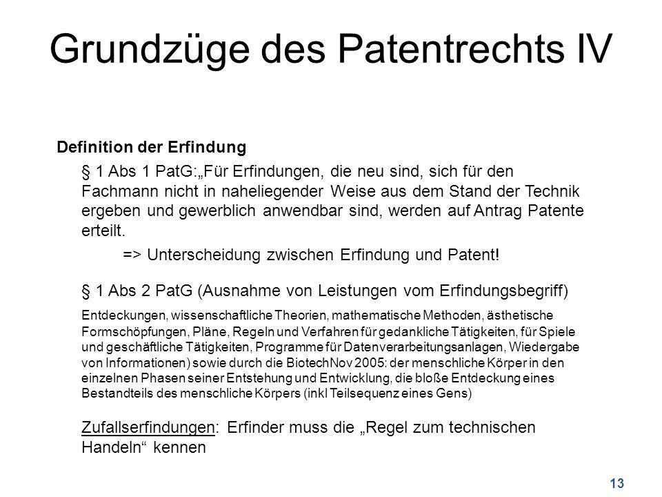 Grundzüge des Patentrechts IV Definition der Erfindung § 1 Abs 1 PatG:Für Erfindungen, die neu sind, sich für den Fachmann nicht in naheliegender Weise aus dem Stand der Technik ergeben und gewerblich anwendbar sind, werden auf Antrag Patente erteilt.