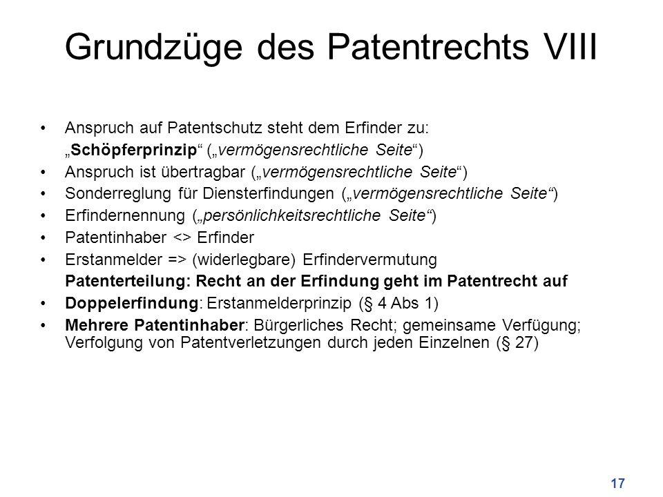 Grundzüge des Patentrechts VIII Anspruch auf Patentschutz steht dem Erfinder zu: Schöpferprinzip (vermögensrechtliche Seite) Anspruch ist übertragbar (vermögensrechtliche Seite) Sonderreglung für Diensterfindungen (vermögensrechtliche Seite) Erfindernennung (persönlichkeitsrechtliche Seite) Patentinhaber <> Erfinder Erstanmelder => (widerlegbare) Erfindervermutung Patenterteilung: Recht an der Erfindung geht im Patentrecht auf Doppelerfindung: Erstanmelderprinzip (§ 4 Abs 1) Mehrere Patentinhaber: Bürgerliches Recht; gemeinsame Verfügung; Verfolgung von Patentverletzungen durch jeden Einzelnen (§ 27) 17