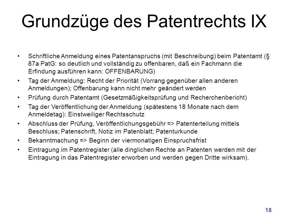 Grundzüge des Patentrechts IX Schriftliche Anmeldung eines Patentanspruchs (mit Beschreibung) beim Patentamt (§ 87a PatG: so deutlich und vollständig zu offenbaren, daß ein Fachmann die Erfindung ausführen kann: OFFENBARUNG) Tag der Anmeldung: Recht der Priorität (Vorrang gegenüber allen anderen Anmeldungen); Offenbarung kann nicht mehr geändert werden Prüfung durch Patentamt (Gesetzmäßigkeitsprüfung und Recherchenbericht) Tag der Veröffentlichung der Anmeldung (spätestens 18 Monate nach dem Anmeldetag): Einstweiliger Rechtsschutz Abschluss der Prüfung, Veröffentlichungsgebühr => Patenterteilung mittels Beschluss; Patenschrift, Notiz im Patenblatt; Patenturkunde Bekanntmachung => Beginn der viermonatigen Einspruchsfrist Eintragung im Patentregister (alle dinglichen Rechte an Patenten werden mit der Eintragung in das Patentregister erworben und werden gegen Dritte wirksam).