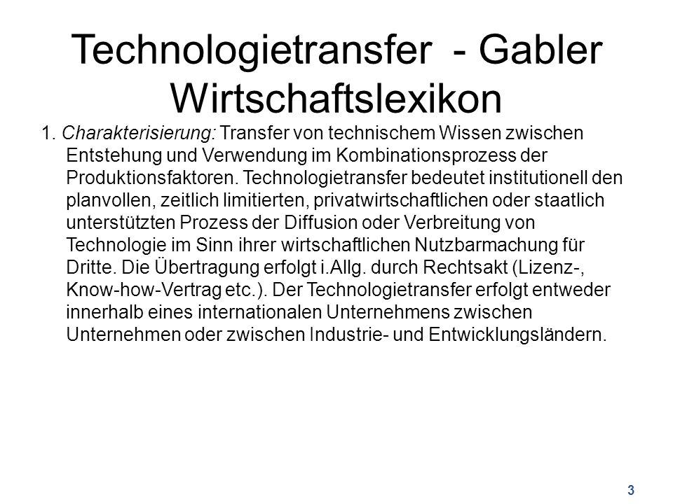Technologietransfer - Gabler Wirtschaftslexikon 1.