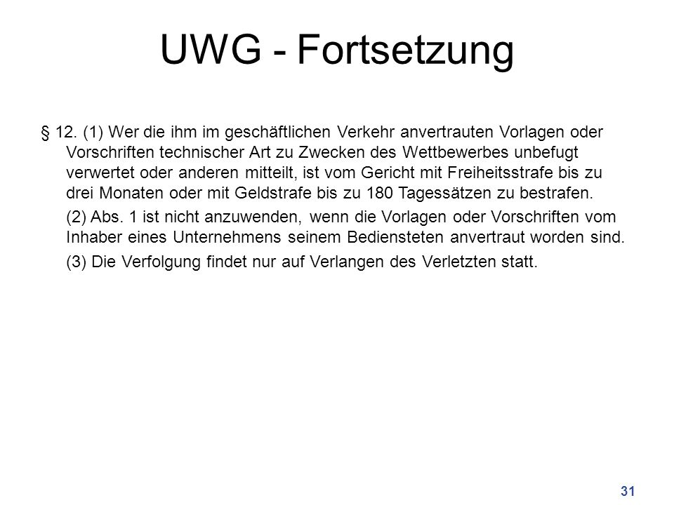 UWG - Fortsetzung § 12.