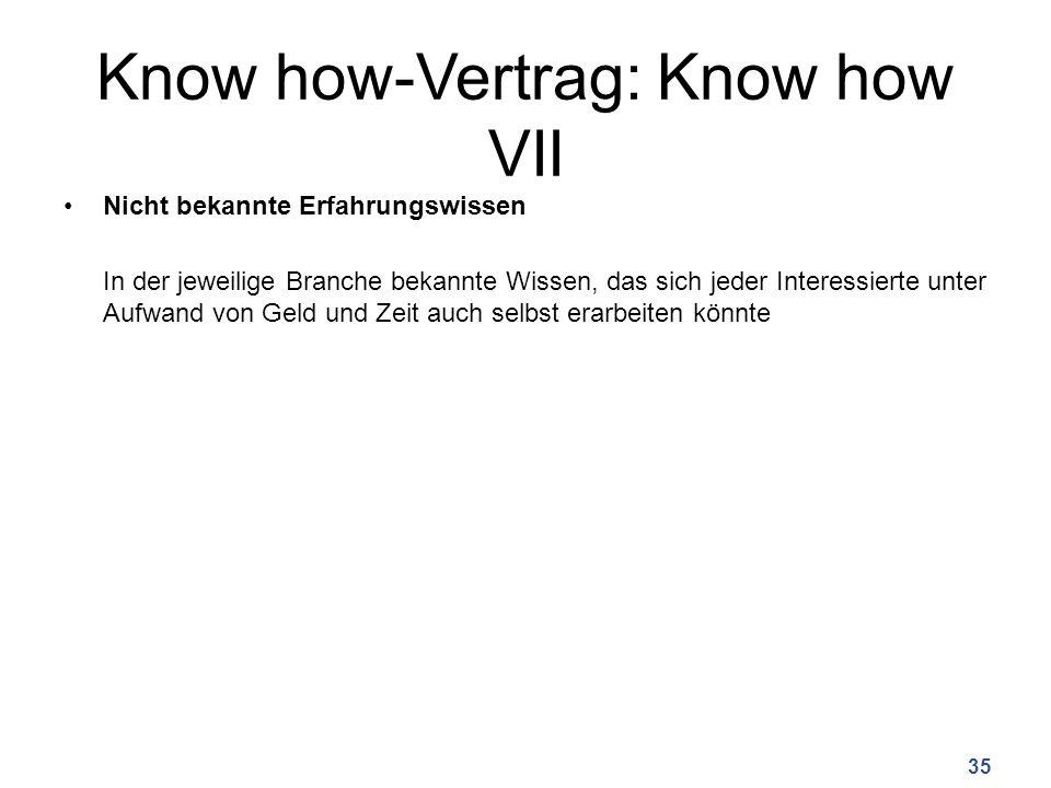 Know how-Vertrag: Know how VII Nicht bekannte Erfahrungswissen In der jeweilige Branche bekannte Wissen, das sich jeder Interessierte unter Aufwand von Geld und Zeit auch selbst erarbeiten könnte 35