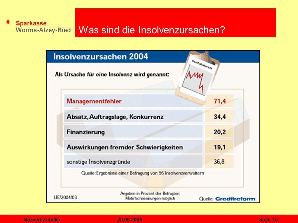 S Sparkasse Worms-Alzey-Ried 20.09.2005Norbert ZubillerSeite 10 Was sind die Insolvenzursachen?