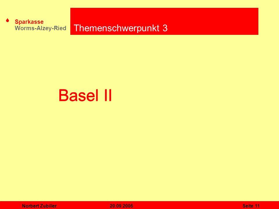 S Sparkasse Worms-Alzey-Ried 20.09.2005Norbert ZubillerSeite 11 Basel II Themenschwerpunkt 3 Basel II