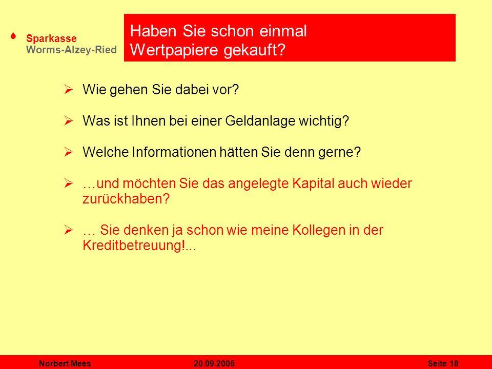S Sparkasse Worms-Alzey-Ried 20.09.2005Norbert MeesSeite 18 Haben Sie schon einmal Wertpapiere gekauft? Wie gehen Sie dabei vor? Was ist Ihnen bei ein