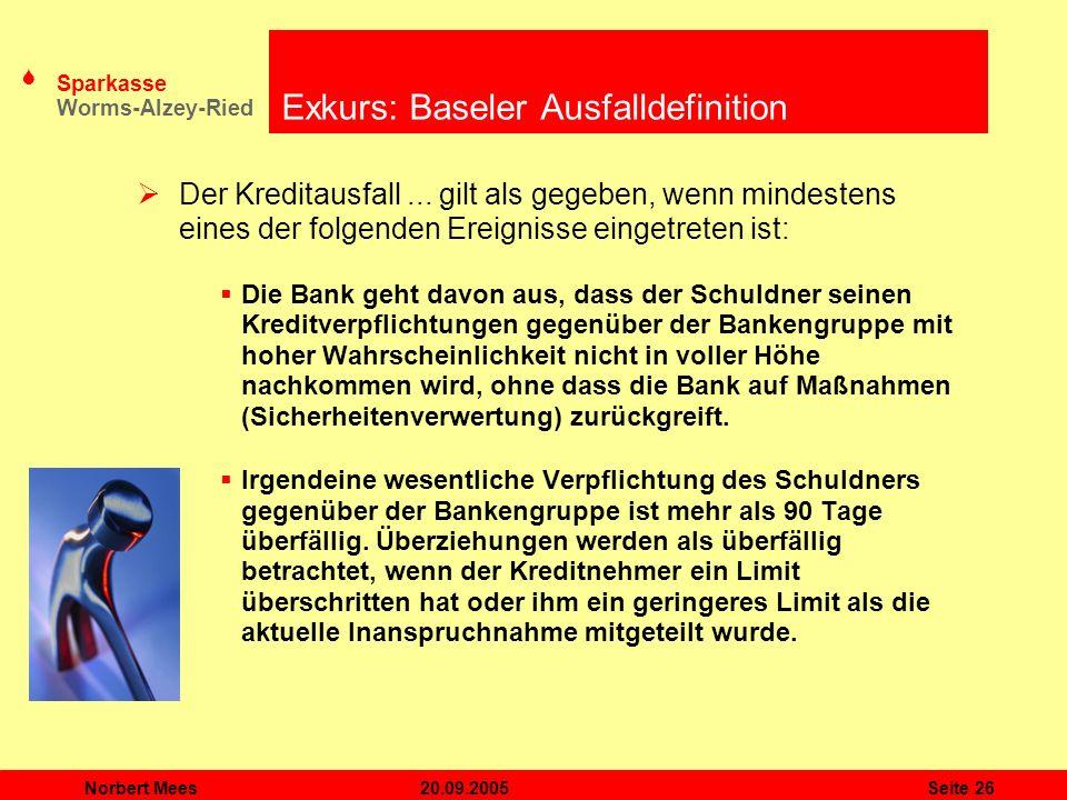 S Sparkasse Worms-Alzey-Ried 20.09.2005Norbert MeesSeite 26 Exkurs: Baseler Ausfalldefinition Der Kreditausfall... gilt als gegeben, wenn mindestens e