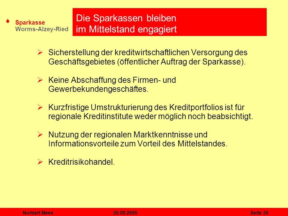 S Sparkasse Worms-Alzey-Ried 20.09.2005Norbert MeesSeite 30 Die Sparkassen bleiben im Mittelstand engagiert Sicherstellung der kreditwirtschaftlichen