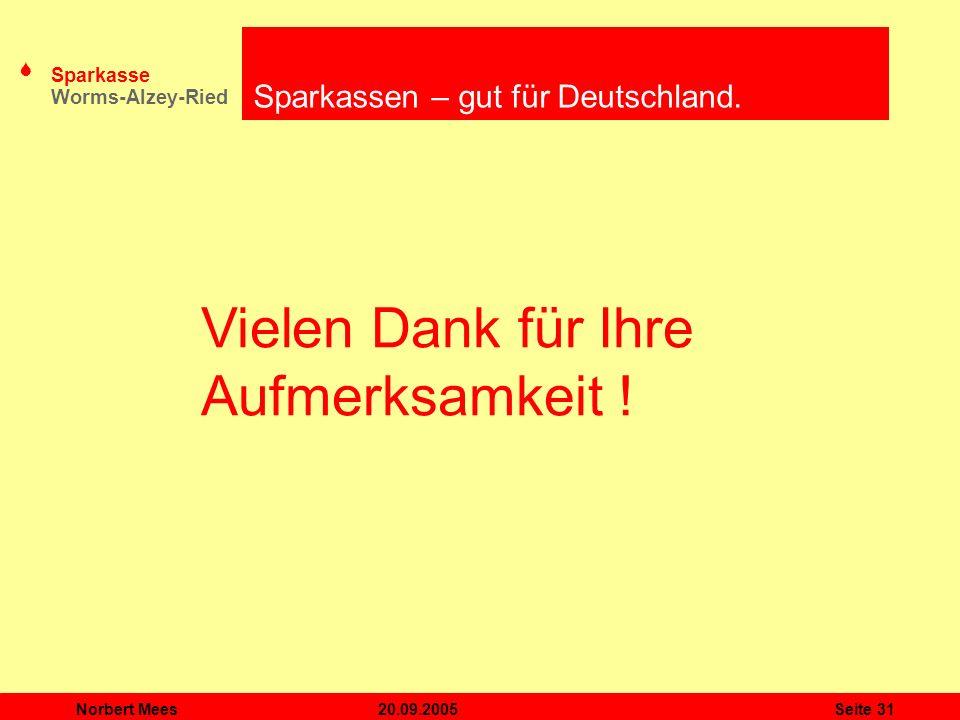 S Sparkasse Worms-Alzey-Ried 20.09.2005Norbert MeesSeite 31 Vielen Dank für Ihre Aufmerksamkeit ! Sparkassen – gut für Deutschland.