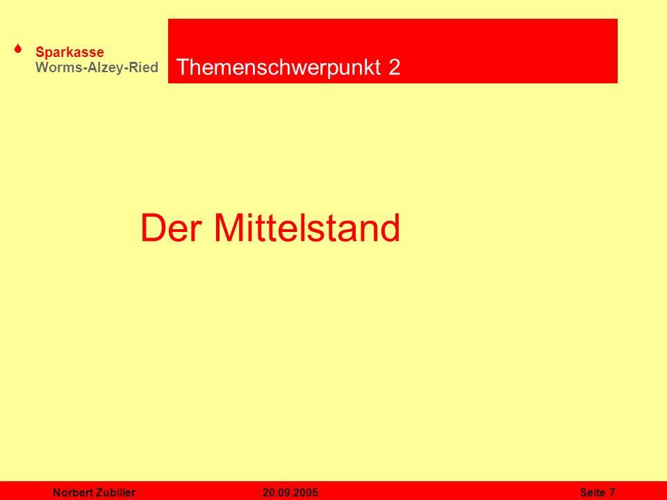 S Sparkasse Worms-Alzey-Ried 20.09.2005Norbert ZubillerSeite 8 Was verstehen wir unter Mittelstand.