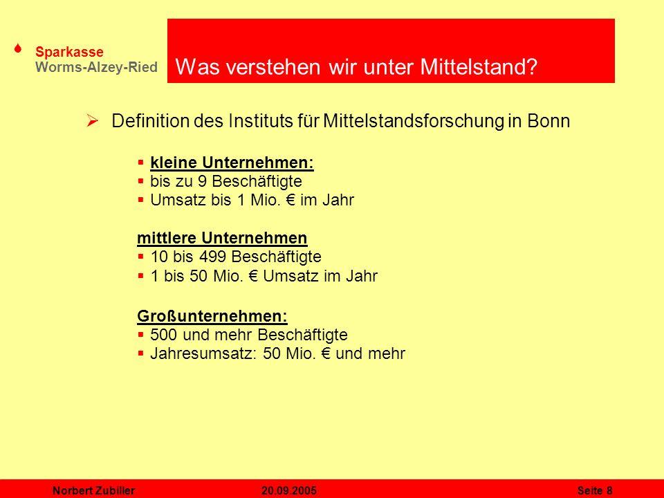 S Sparkasse Worms-Alzey-Ried 20.09.2005Norbert ZubillerSeite 8 Was verstehen wir unter Mittelstand? Definition des Instituts für Mittelstandsforschung