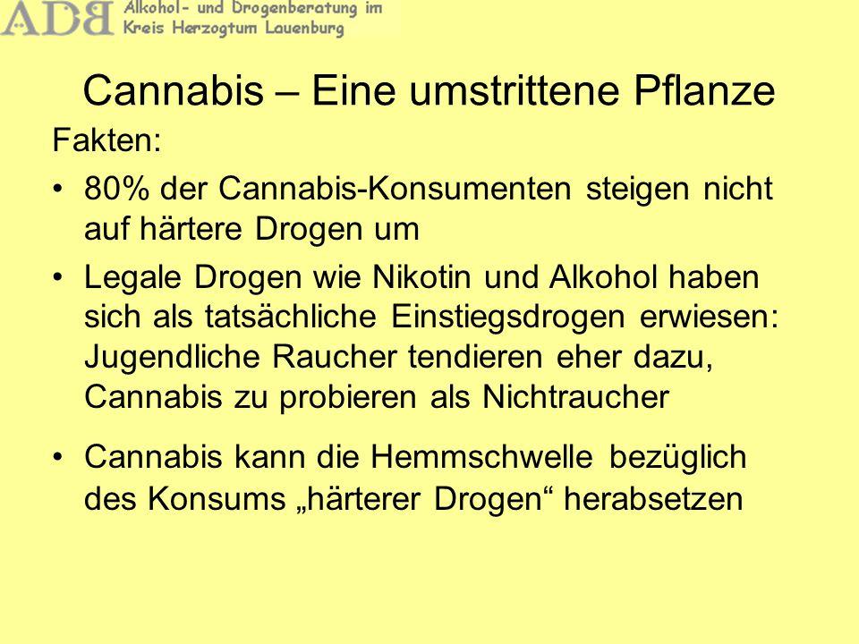 Cannabis – Eine umstrittene Pflanze Fakten: 80% der Cannabis-Konsumenten steigen nicht auf härtere Drogen um Legale Drogen wie Nikotin und Alkohol hab