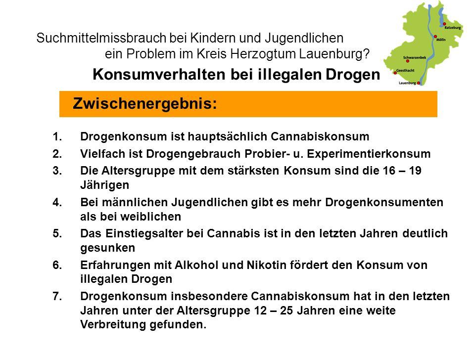 Suchmittelmissbrauch bei Kindern und Jugendlichen - ein Problem im Kreis Herzogtum Lauenburg? Zwischenergebnis: Konsumverhalten bei illegalen Drogen 1