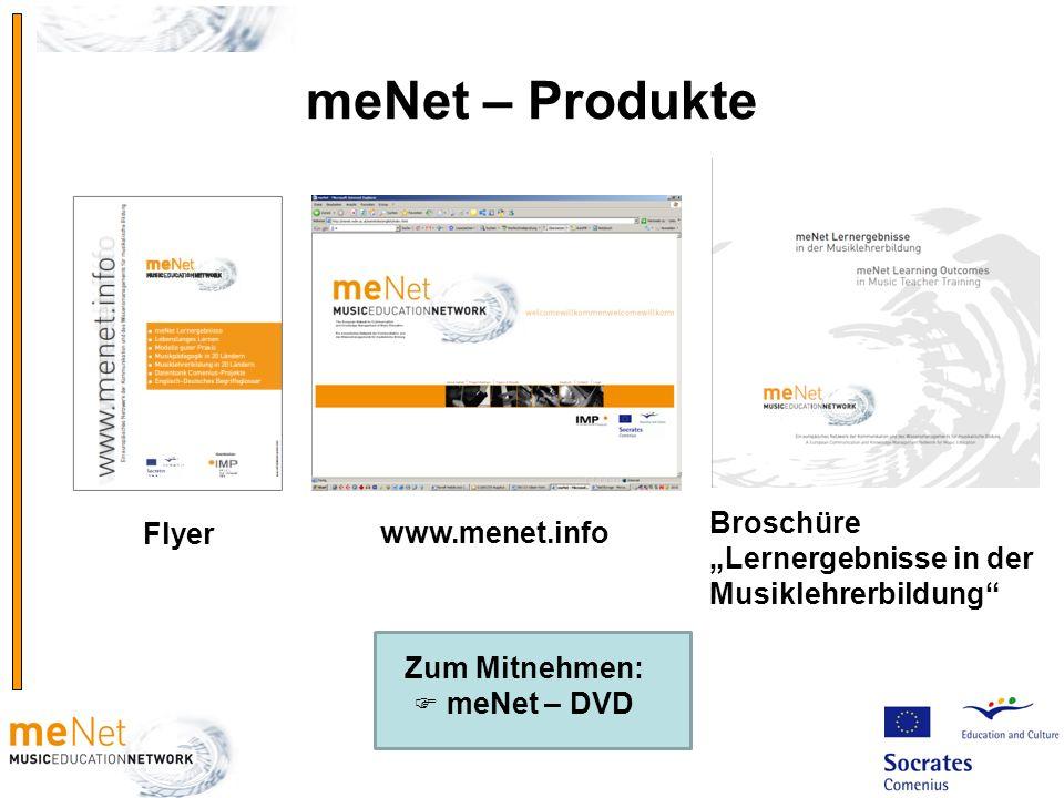 meNet – Produkte www.menet.info Zum Mitnehmen: meNet – DVD Flyer Broschüre Lernergebnisse in der Musiklehrerbildung