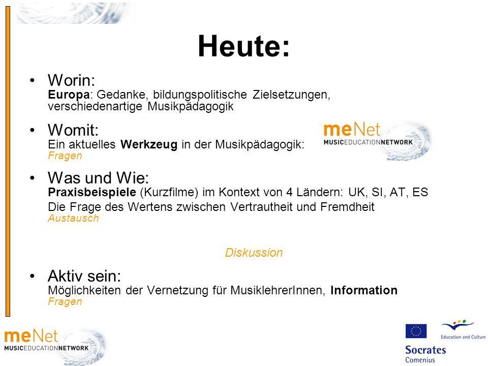 Heute: Worin: Europa: Gedanke, bildungspolitische Zielsetzungen, verschiedenartige Musikpädagogik Womit: Ein aktuelles Werkzeug in der Musikpädagogik: