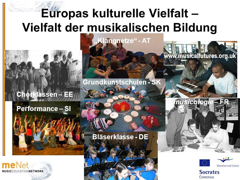 Europas kulturelle Vielfalt – Vielfalt der musikalischen Bildung Grundkunstschule SK Klangnetze - AT Bläserklasse - DE Chorklassen – EE musicologie –