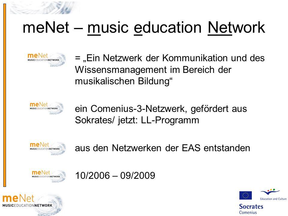 meNet – music education Network = Ein Netzwerk der Kommunikation und des Wissensmanagement im Bereich der musikalischen Bildung ein Comenius-3-Netzwer