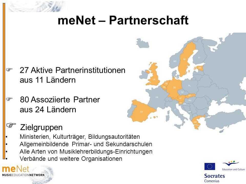 27 Aktive Partnerinstitutionen aus 11 Ländern 80 Assoziierte Partner aus 24 Ländern Zielgruppen Ministerien, Kulturträger, Bildungsautoritäten Allgeme