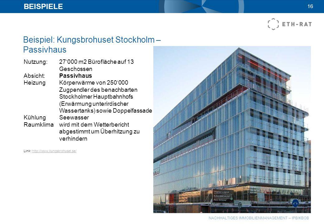 NACHHALTIGES IMMOBILIENMANAGEMENT – IPB/KBOB BEISPIELE Beispiel: Kungsbrohuset Stockholm – Passivhaus 16 Nutzung:27000 m2 Bürofläche auf 13 Geschossen