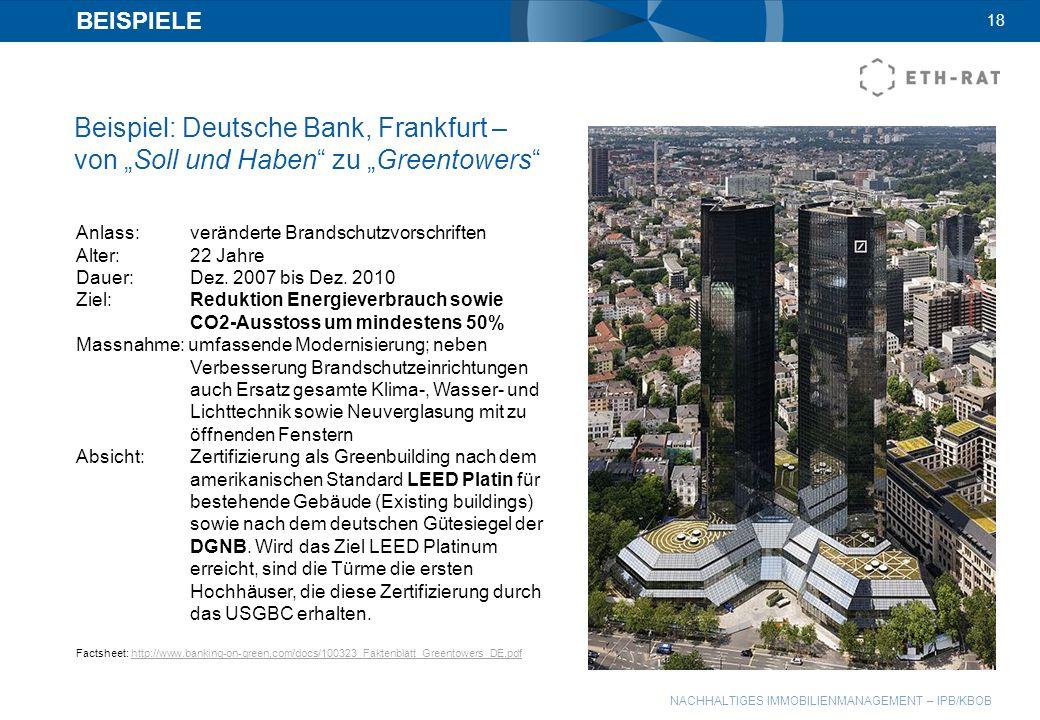 NACHHALTIGES IMMOBILIENMANAGEMENT – IPB/KBOB BEISPIELE Beispiel: Deutsche Bank, Frankfurt – von Soll und Haben zu Greentowers 18 Anlass:veränderte Bra