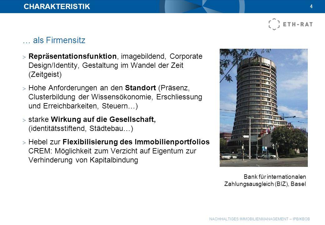 NACHHALTIGES IMMOBILIENMANAGEMENT – IPB/KBOB CHARAKTERISTIK … als Firmensitz Repräsentationsfunktion, imagebildend, Corporate Design/Identity, Gestalt