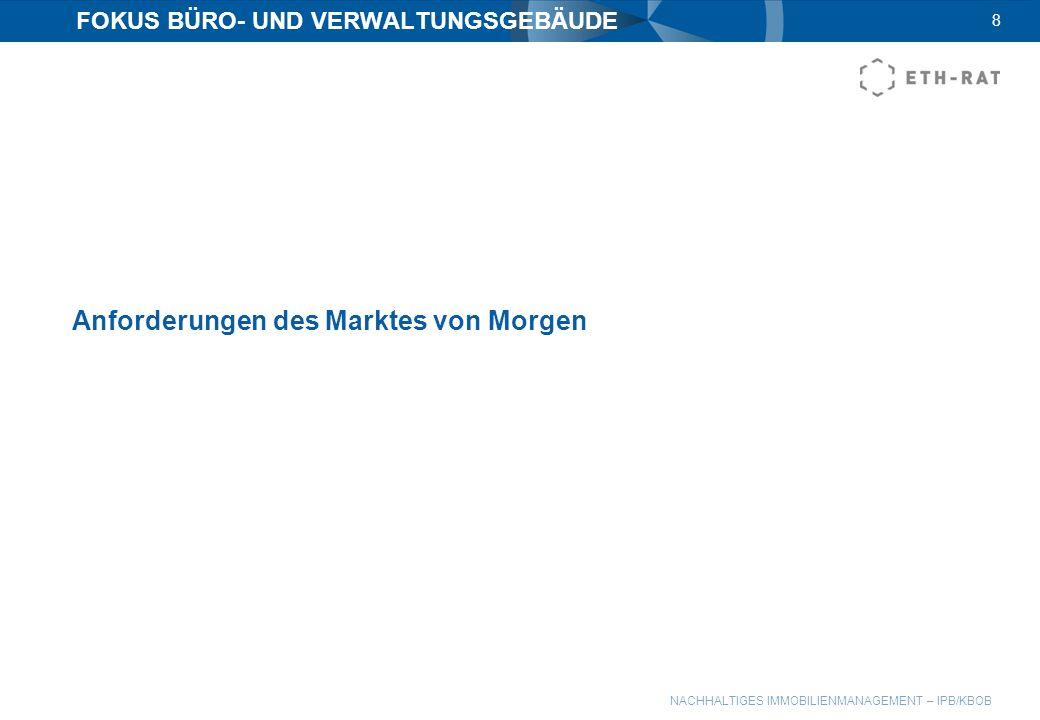 NACHHALTIGES IMMOBILIENMANAGEMENT – IPB/KBOB 8 FOKUS BÜRO- UND VERWALTUNGSGEBÄUDE Anforderungen des Marktes von Morgen