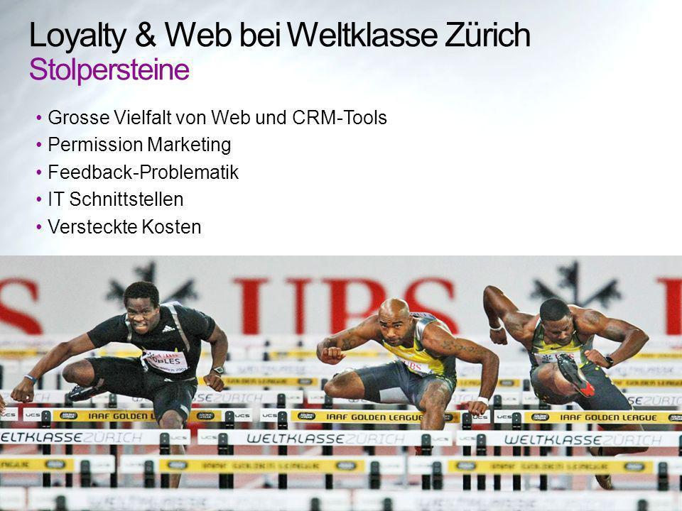 Loyalty & Web bei Weltklasse Zürich Stolpersteine Grosse Vielfalt von Web und CRM-Tools Permission Marketing Feedback-Problematik IT Schnittstellen Versteckte Kosten