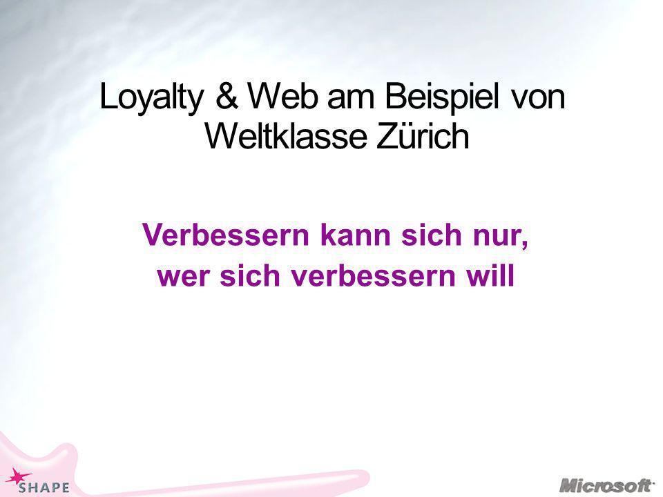 Loyalty & Web am Beispiel von Weltklasse Zürich Verbessern kann sich nur, wer sich verbessern will