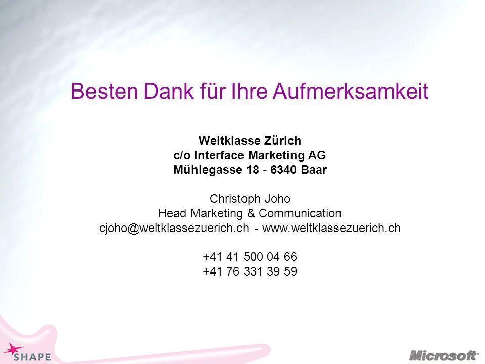 Besten Dank für Ihre Aufmerksamkeit Weltklasse Zürich c/o Interface Marketing AG Mühlegasse 18 - 6340 Baar Christoph Joho Head Marketing & Communication cjoho@weltklassezuerich.ch - www.weltklassezuerich.ch +41 41 500 04 66 +41 76 331 39 59