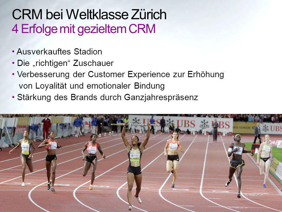 CRM bei Weltklasse Zürich 4 Erfolge mit gezieltem CRM Ausverkauftes Stadion Die richtigen Zuschauer Verbesserung der Customer Experience zur Erhöhung