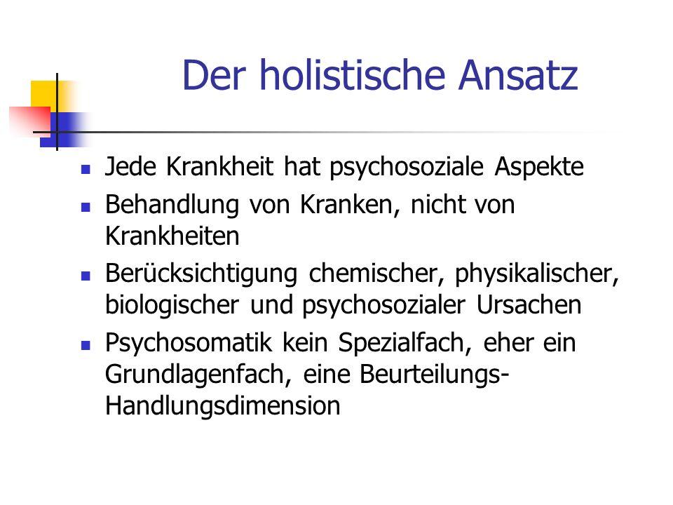 Der holistische Ansatz Jede Krankheit hat psychosoziale Aspekte Behandlung von Kranken, nicht von Krankheiten Berücksichtigung chemischer, physikalischer, biologischer und psychosozialer Ursachen Psychosomatik kein Spezialfach, eher ein Grundlagenfach, eine Beurteilungs- Handlungsdimension