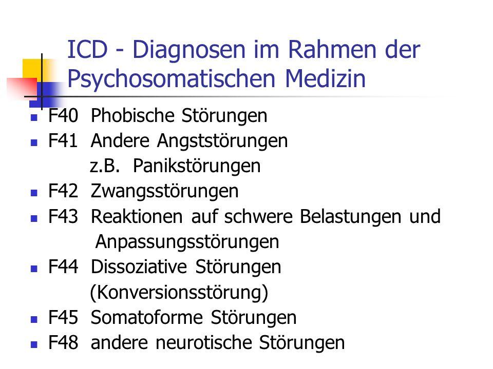 ICD - Diagnosen im Rahmen der Psychosomatischen Medizin F40 Phobische Störungen F41 Andere Angststörungen z.B.