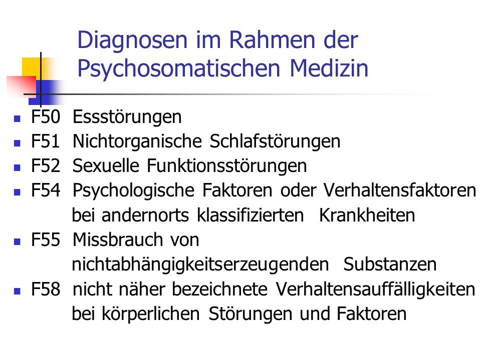 Diagnosen im Rahmen der Psychosomatischen Medizin F50 Essstörungen F51 Nichtorganische Schlafstörungen F52 Sexuelle Funktionsstörungen F54 Psychologis