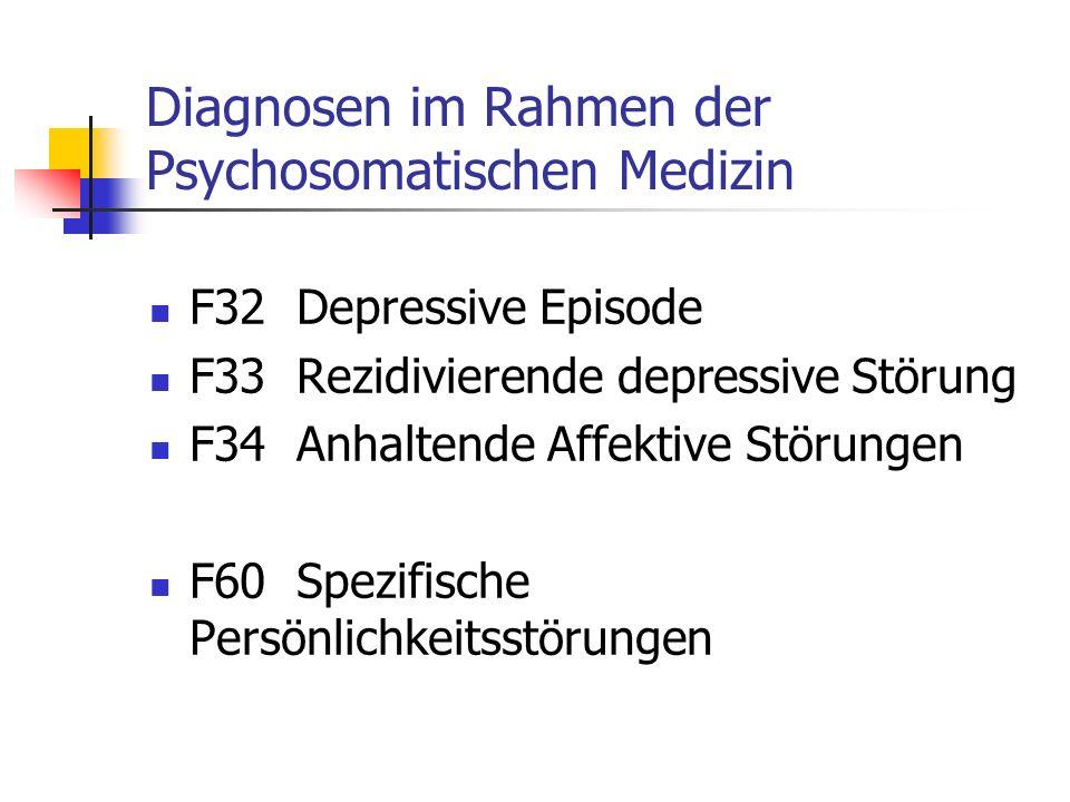 Diagnosen im Rahmen der Psychosomatischen Medizin F32 Depressive Episode F33 Rezidivierende depressive Störung F34 Anhaltende Affektive Störungen F60