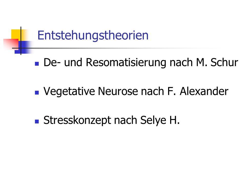Entstehungstheorien De- und Resomatisierung nach M. Schur Vegetative Neurose nach F. Alexander Stresskonzept nach Selye H.