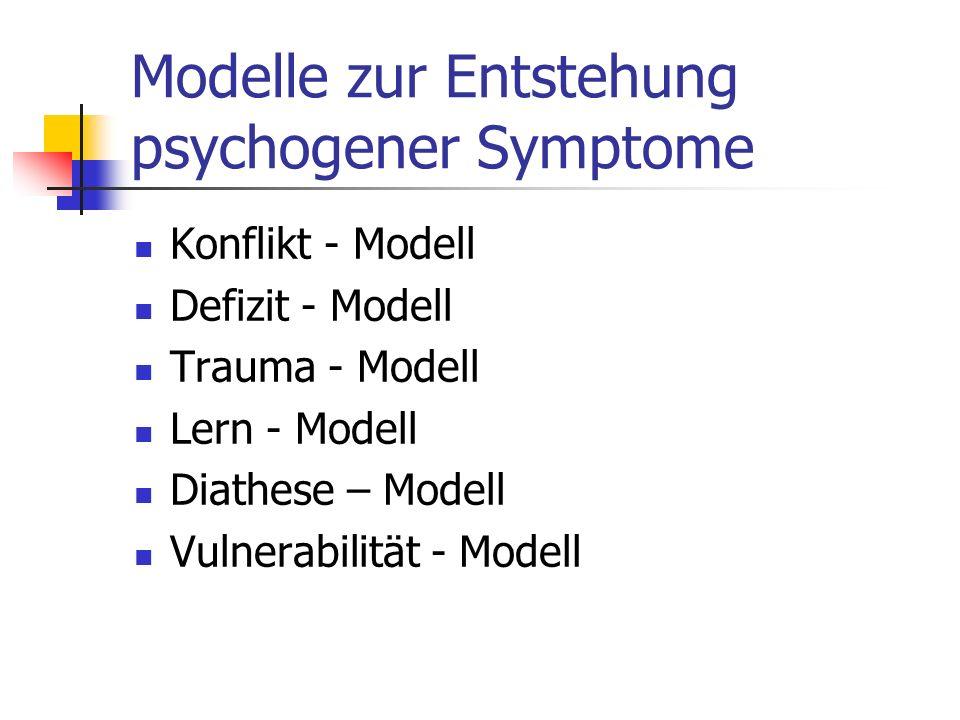 Modelle zur Entstehung psychogener Symptome Konflikt - Modell Defizit - Modell Trauma - Modell Lern - Modell Diathese – Modell Vulnerabilität - Modell